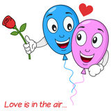 Balloons Lovers in Love Flying in the Air Stock Photos