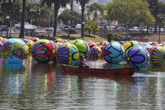Balloons Management  in Los Angeles MacArthur Park Stock Photography
