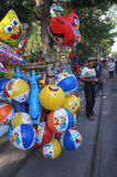 Balloons. Merchants hawked balloons with a bike in the city of Solo, Central Java, Indonesia Stock Photo