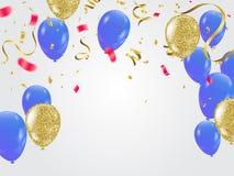 Balloons molti coriandoli minuscoli blu di caduta su fondo bianco C Immagine Stock Libera da Diritti