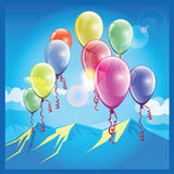 Balloons and mountains Royalty Free Stock Photos