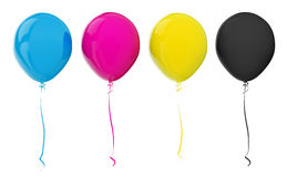 Balloons. Multi-colored balloons. CMYK colors. 3d render Royalty Free Stock Photos