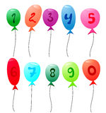 Balloons with numbers Stock Image