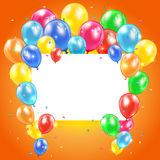 Balloons on orange background with card. Flying colored balloons on orange holiday background with card, illustration Royalty Free Stock Photo