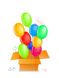 Balloons out of the box up in the air Royalty Free Stock Photos