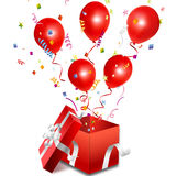 Balloons out of the open gift box Stock Images