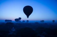 Balloons over bagan. Hot air balloons over Bagan, Myanmar Stock Photos