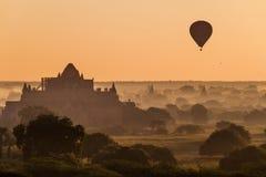 Balloons over Bagan and Pyathada Paya temple, Myanm