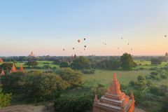 Balloons over Buddhist Temples in Bagan, Myanmar Royalty Free Stock Photography