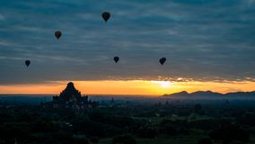 Balloons over the fields and temples of Bagan Burma Myanmar stock photos