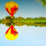 Balloons over the river . Composition of nature and blue sky background at Ayutthaya , thailand royalty free stock photography