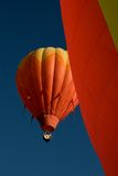 Balloons over Steamboat Springs. Hot air balloons in the 30th annual Hot Air Balloon Rodeo in Steamboat Springs ascending into the Colorado sky stock photography