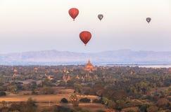 Balloons over Tempels Bagan at sunrise