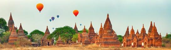 Balloons over Temples in Bagan. Myanmar. Panorama
