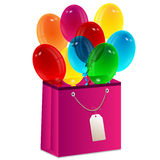 Balloons and a package Stock Photography