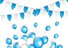 Balloons with paper garlands in traditional colors of Bavaria Royalty Free Stock Photography