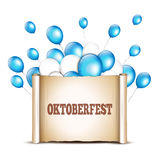 Balloons with paper scroll in traditional colors of Bavaria. Okt Royalty Free Stock Photography
