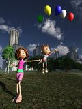 Balloons in the park. Mum prevents kid from floating away with balloon Royalty Free Stock Photo