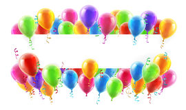 Balloons Party Banner. A balloons banner sign with party balloons and confetti Royalty Free Stock Photo