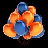 Balloons party blue orange colorful icon. helium balloon bunch. Birthday decoration glossy, carnival celebration background. 3d illustration, isolated on black Royalty Free Stock Photo