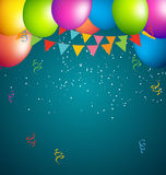 Balloons party color full on blue background Stock Photo