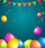 Balloons party color full on blue background Royalty Free Stock Image