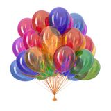 Balloons party decoration multicolor. Colorful balloons, birthday party decoration multicolor. helium balloon bunch glossy different colors. Holiday, anniversary stock illustration