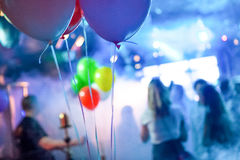 Balloons in party hall - Defocused background Stock Photos