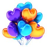 Balloons party happy birthday decoration heart shaped multicolored. Glossy blue orange. Holiday anniversary celebration greeting card background. 3d Royalty Free Stock Images