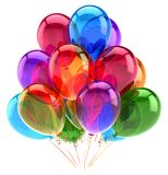 Balloons party happy birthday decoration multicolored glossy royalty free illustration