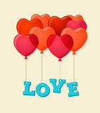 Balloons party happy birthday and Valentine's day card Stock Photo