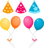 Balloons and party hat Royalty Free Stock Photos
