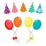 Balloons and party hat set Stock Images