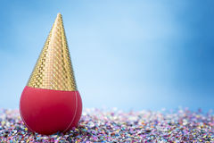Balloons party with hats on the confetti royalty free stock photography