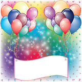 Balloons Party Invitation card. With white space Stock Photography