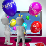 Balloons With Party Text Showing Invitations Sent Online Royalty Free Stock Photo