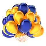 Balloons party yellow blue colorful. helium balloon bunch. Birthday decoration glossy, carnival celebration background. 3d illustration Royalty Free Stock Photography