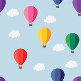 Balloons pattern. Colorful hot air balloons on the blue sky Royalty Free Stock Image
