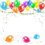 Balloons with pennants and confetti. Holiday background with colorful balloons, pennants, tinsel and confetti, illustration Royalty Free Stock Photography