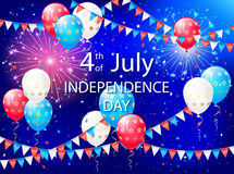 Balloons and pennants on Independence day. Holiday balloons, colorful pennants and fireworks on Independence day background, illustration Stock Photography
