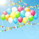 Balloons and pennants on sky background. Birthday balloons with streamers, colorful confetti and pennants on a sky background, illustration Royalty Free Stock Photography