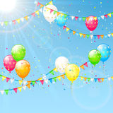 Balloons with pennants and Sun. Birthday background with colorful  balloons, confetti and pennants, illustration Royalty Free Stock Images