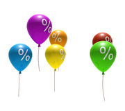 Balloons with percent symbols Royalty Free Stock Photo