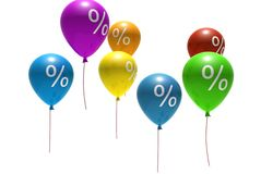 Balloons with percent symbols Stock Photography