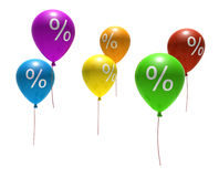 Balloons with percent symbols Stock Photo