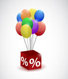 Balloons and percentage cube illustration design Stock Images