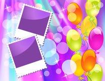 Balloons and photo frame Stock Photos