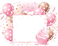 Balloons place card. Illustration of blank place card with balloons and cupcake Royalty Free Stock Image