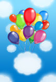 Balloons poster. Holiday Balloons on light blue sky and clouds background. Hand drawn digital color Illustration. For Art, web, print, wallpaper, greeting card royalty free illustration