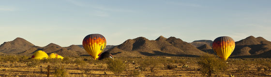 Balloons preparing to lift off in Arizona Stock Images